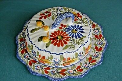 Henriot Quimper France Faience Round Covered Butter/Cheese Dish