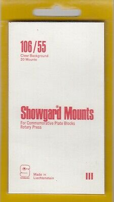 Showgard Clear Stamp Mounts 106/55 mm For US 3c/4c Commemorative Blocks Rotary