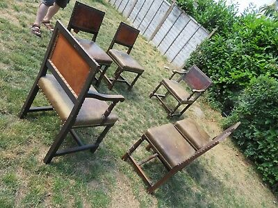 6 Stunning Chairs for Restoration 4 + 2 Carvers Leather Seats Old Brown Leather