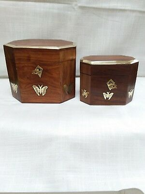 Pair  wooden tea boxes with brass inlay  butterflies & brass edged lids and keys
