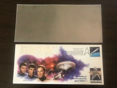 1991 Star Trek 25th Anniversary Enterprise Stamp Kirk Spock McCoy Ship Cachet