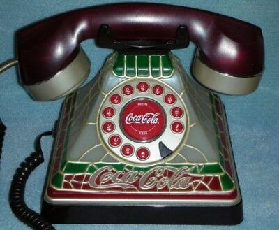 Coca-Cola Vintage Stained Glass Design Corded Telephone Free US Shipping