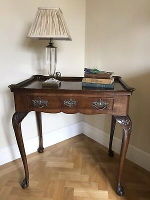 A lovely Antique Burr Walnut Lamp Table with one drawer