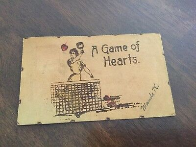 A Game of Hearts 1906 Leather Postcard