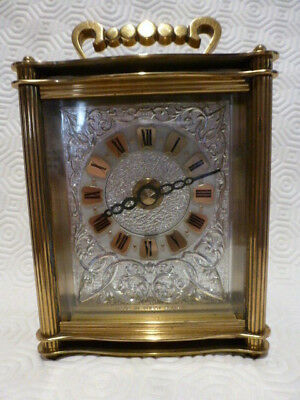 Vintage SMITHS LOUIS Brass Carriage Mantle Clock Made Gt. Britain Battery Roman