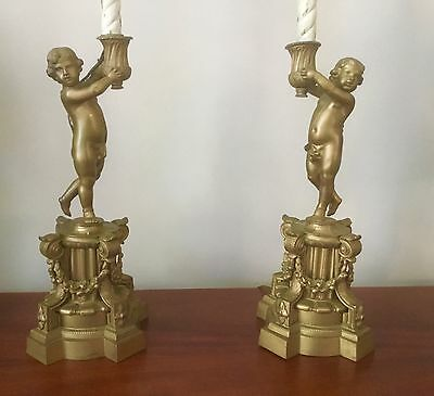 Antique Vintage Pair French Figural Nude Cherub Putti Table Lamp Right Left