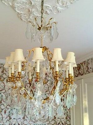 Antique Vintage French Crystal Bronze Brass Chandelier
