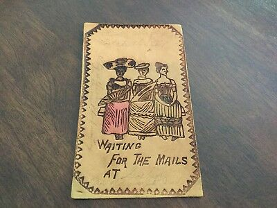 Waiting For The Mails At.... 1906 Leather Postcard