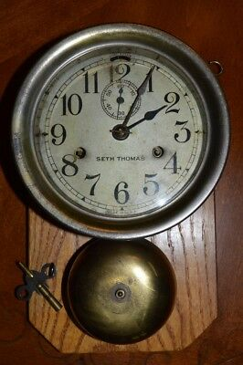 Antique Seth Thomas Ships Bell Wall Clock, keeps time