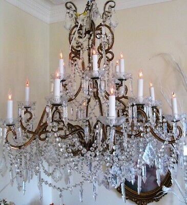 "Antique Vintage Italian Crystal Macaroni Beaded Chandelier 18 Light 38"" Wide"