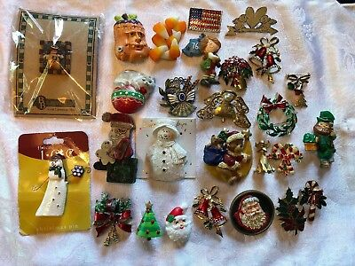 Lot Of 27 Holiday Brooches Christmas, 2 Halloween 2 July 4th 1 V Day 1 St Pats