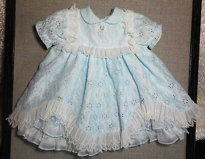 Martha's Miniature's Girls Vintage Very Frilly Mint Green Eyelet Dress Sz Xl