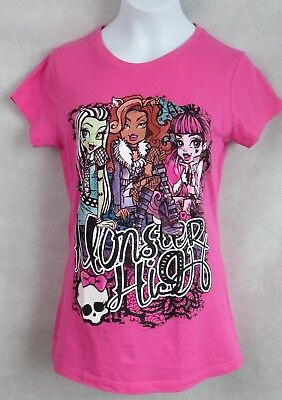 MONSTER HIGH Girls Graphic Tee Frankie Draculara Clawdeen Official Licensed New