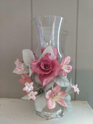 Home Interior Rose Floral Candle Ring, Clear Votive Cup and Clear Candle Holder