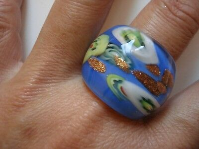 Huge Gorgeous Auth Italian Murano Blue Gold Green Cocktail Ring~Size7.5~Free SHP