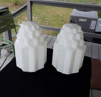"Matched Pair of Vintage Milk Glass Art Deco 4 Tier Light Shades 17"" Excellent"