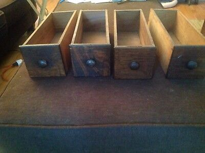 4 (Four) Antique Solid Wood Sewing Machine Drawers with Original Handles