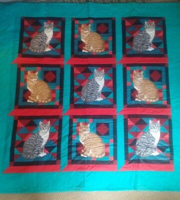 Beautiful turquois green quilt Cats - wall hanging or lap Quilt