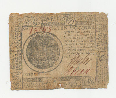 46 - 1776 Colonial Currency $7 Seven Dollar Note Revolutionary War!