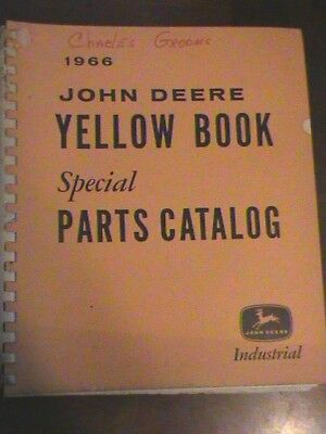 1966 John Deere Yellow Book Special Parts Catalog Industrial