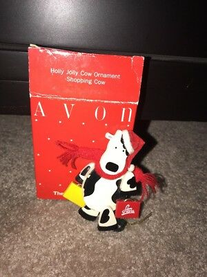 Avon Holly Jolly Cow Ornament Shopping Cow from The Gift Collection