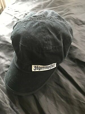 Jagermeister Military Style Black Hat/Cap One Size All Gently Used Solid Black