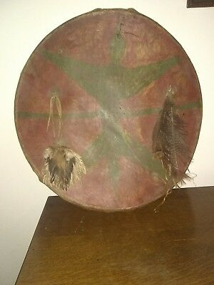 Early Primitive Native American Indian Painted Rawhide Ceremonial Battle Shield