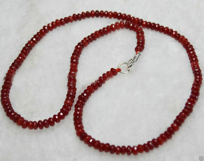 New 2x4mm Brazil Red Ruby Faceted Rondelle Gems Beads Necklace Silver Clasp AA