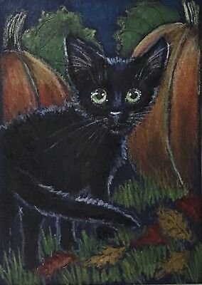 ACEO Orig.Autumn Pumpkin Patch Black Kitten Leaves Halloween