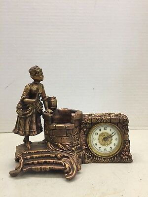 Waterbury Novelty Clock Woman At The Well Probably From The Late 1800s