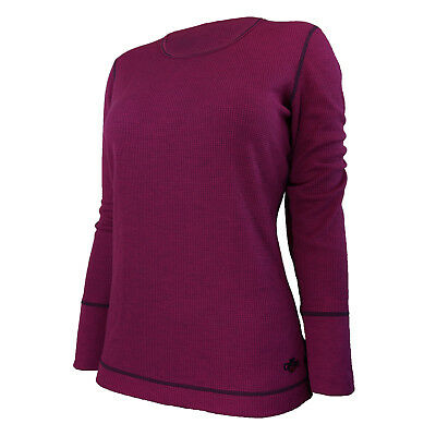 Hot Chillys Women's Waffle Weave Base Layer Top Relaxed Fit Raspberry HC5040 XL