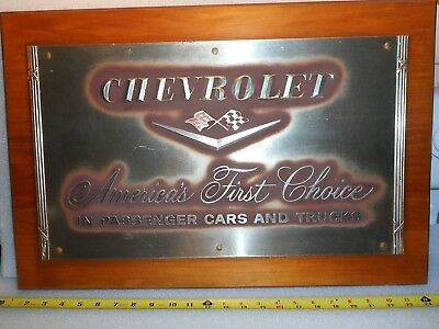 Vintage Chevrolet dealership wall plaque possibly for 1958 Impala