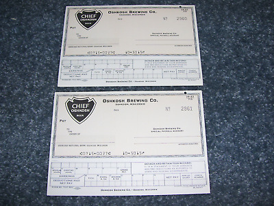 2 Vtg Chief Oshkosh Beer Employee Payroll Checks Unused Mint!!!