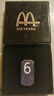 McDonalds Employee 6 Years of Service Lapel Tac Pin NEW in Box & FREE Shipping