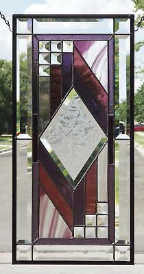 """• Centerd •Beveled Stained Glass Window Panel • 21 ½"""" x10 ½"""""""