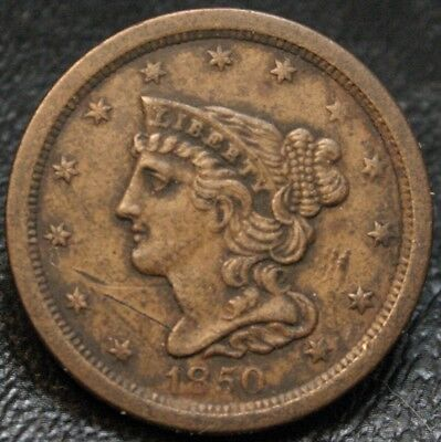 1850 Braided Hair Half Cent AU Details Scratched ~ Scarce Key Date 1/2C
