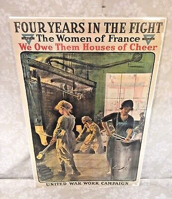 World War I Poster 4 Years in the Fight The Women of France YWCA Unframed Intact