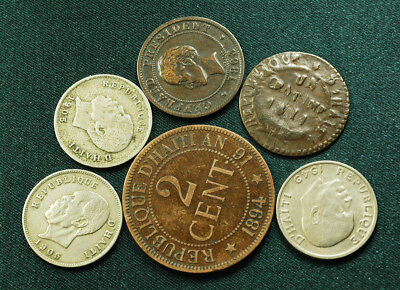 Lot of (6) Haiti old coins