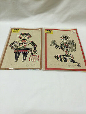 Set of 2 Kwakiutl Native Artist Art Cards by 2 Separate Artists
