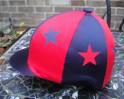 Riding Hat Silk Skull cap Cover NAVY BLUE & RED * STARS * With OR w/o Pompom