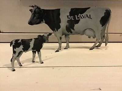 DeLaval Tin Advertising Cow And Calf Holsteins Early 20th Century