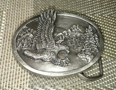 1985 Vintage Pewter Magnificent Eagle Belt Buckle by Siskiyou Buckle Co USA M15