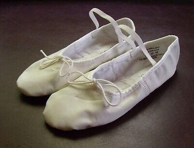 Barbette's Dancewear Women's White Leather Ballet Slippers/Shoes size 9 M