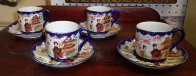 Vintage Japanese Chinese Tea Set 4 Cups w Saucers Blue Edges Stunning Graphics