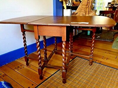 Barley Twist Table Tiger Oak Drop Leaf & Chair 1895-1921~Halifax