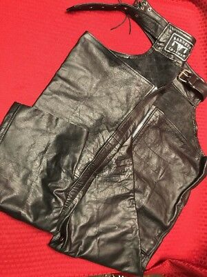 Mens Barneys Black Leather Biker Motorcycle Chaps Size XL