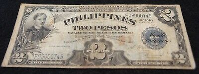 1944 Series No.66 Philippines 2 Peso VICTORY Note in VG Condition Nice Note!