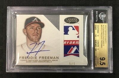Freddie Freeman 2016 Topps Dynasty Autograph Patches 5/5 Bgs Gem Mint 9.5