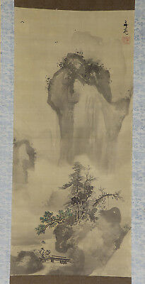 JAPANESE HANGING SCROLL ART Painting Sansui Landscape Buncho's seal  #E2961