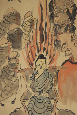 JAPANESE HANGING SCROLL ART Painting Buddhism Asian antique  #E2962